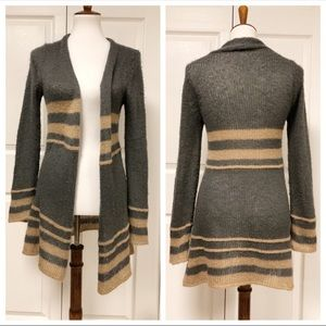 Wooden Ships Mohair Gray Striped Cardigan Sweater